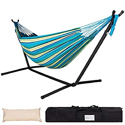 Lazy Daze Hammocks Double Hammock with Space Saving Steel Stand Includes Portable Carrying Case and Head Pillow, 450 Pounds Capacity (Oasis Stripe)