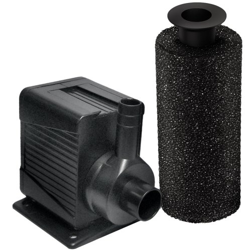 Beckett Corporation 800 GPH Submersible Pond and Waterfall Pump with Filter - Water Pump for Small Ponds, Fountains, Fish Tanks, and Aquariums - 8.2' Max Fountain Height, Black