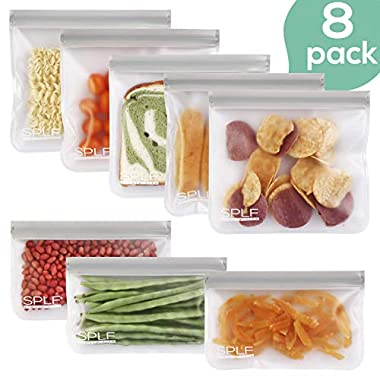 SPLF 8 Pack FDA Grade Reusable Storage Bags (5 Reusable Sandwich Bags, 3 Reusable Snack Bags), Extra Thick Leakproof Silicone And Plastic Free Ziplock Lunch Bags Food Storage Freezer Safe