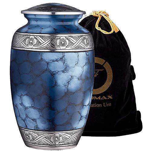Urne für Asche, für Erwachsene bis zu 90 kg, blaue Beerdigungsurne mit Satinbeutel für menschliche Asche