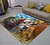 Yqs Rugs 3D Print Carpet Naruto Anime Rug Outdoor Rug Kids Bedroom Rugs Cartoon Floor Mat Living Room Floor Carpet for Kids Boys Carpets (Color : Blue, Size : 50x80cm)