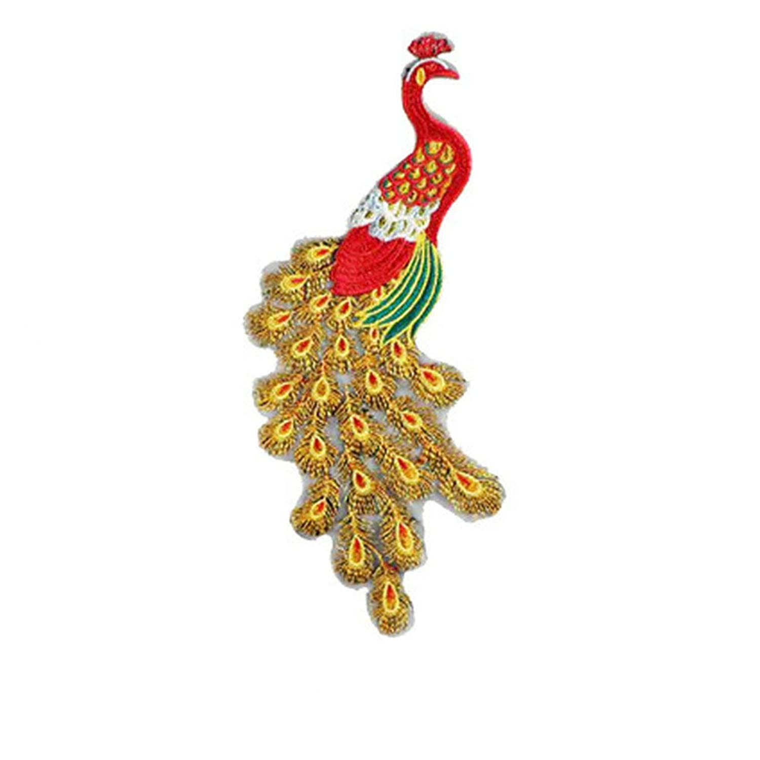 Beautiful Peacock Flower Sequins Embroidery Patch for Sewing on Clothes Applique DIY Crafts Handmade Clothing Patches (red) tjheiq0021736