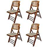 EME 4 Sillas Plegable bambú Madera Natural con Cojines incluidos. Incluye 4 sillas y 4 Cojines. Elegantes para Eventos, Plegables y Muy Resistentes.