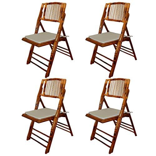 EME 4 Sillas Plegable bambú Madera Natural con Cojines incluidos. Incluye 4 sillas y 4 Cojines. Elegantes para Eventos, Plegables y Muy Resistentes. ⭐