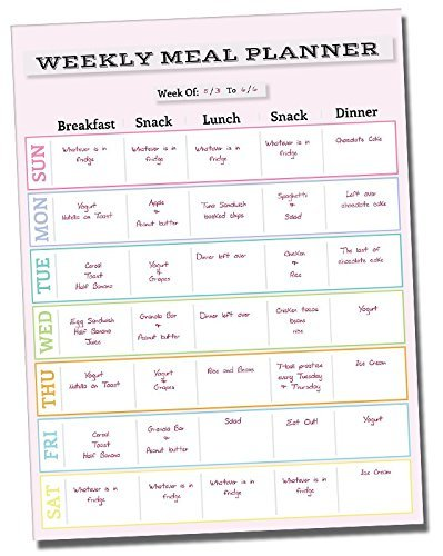 """Dry Erase Meal Planner Calendar - 14.5"""" x 11"""" inch - Refrigerator Weekly Menu Prepping Sticker Board - Adhesive Fitness Prep Wall Sticker - Pink Non Magnetic Chart Decal - Summer Body Weight Loss Plan"""