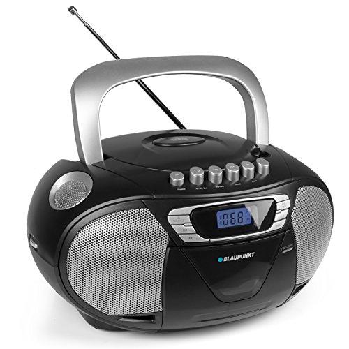 BLAUPUNKT Boombox 11 PLL tragbares Kinder CD-Radio, Hörbuch Funktion, CD Player Kassettenrekorder, Aux In, Kopfhöreranschluss, LED-Display, Backlight, 2x 2,2 Watt RMS, PLL UKW Tuner