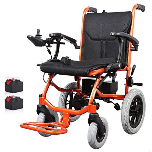 WXDP Autopropulsado Silla eléctrica Plegable, Motor sin escobillas, Liviana, Puede Estar en el avión para discapacitados y Ancianos Cojín Desmontable de aleación de alumi