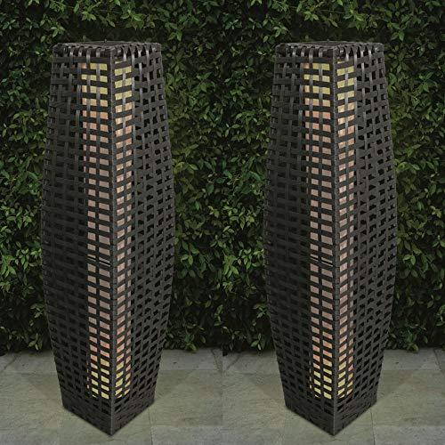 Solarbetriebene LED-Stehlampe mit herkömmlichem Rattan-Effekt, für Garagenzufahrt, Flure, 69 cm 2er-Set grau