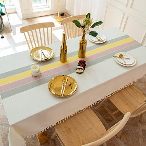 Bedtang Manteles Antimanchas Tela Mantel Lino con Estilo, Anti-Manchas Borde De Borla, Cocina Salón Diseño de Comedor Decoración del Hogar Oficinas - Raya-A 90x120cm