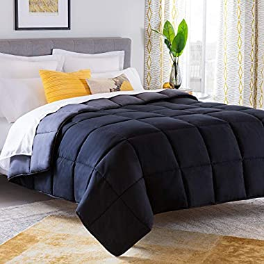 Linenspa All-Season Reversible Down Alternative Quilted Comforter - Hypoallergenic - Plush Microfiber Fill - Machine Washable - Duvet Insert or Stand-Alone Comforter - Black/Graphite - Oversized King