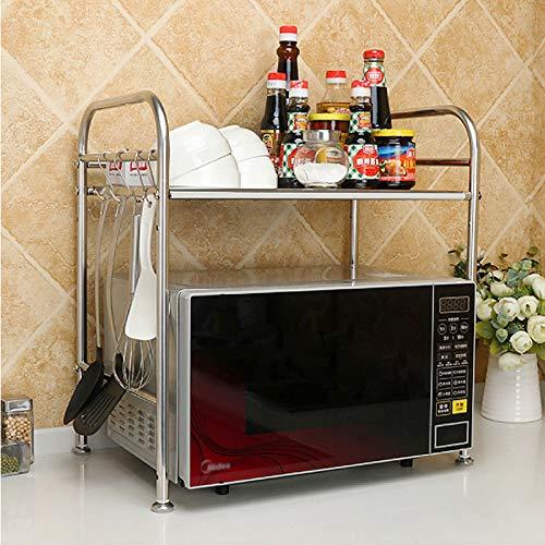 anmas home Multifunktionale Doppellagige Mikrowellen-Regale Küche Edelstahl Regale