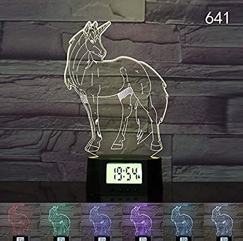 Eenhoorn 3D nachtlampje LED klok USB nachtlicht 3D tafellamp
