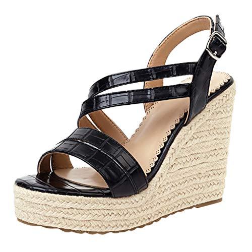 Fantastic Prices! KCPer Women Shoes Womens Platform Wedges Sandals Cutout Belt Open Toe Slingback Fa...