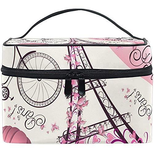 Paris Eiffel Tower Bicycle Print Large Cosmetic Bag Travel Makeup Organizer Case Holder For Women Girls Toiletry Bag,23X17X16Cm