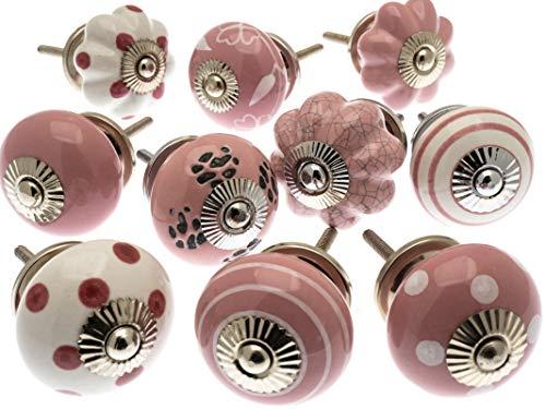 Set misto di pomelli per cassetti e comodini in ceramica rosa e bianca pezzi 10 (MG-202) 'Vintage-Chic' TM