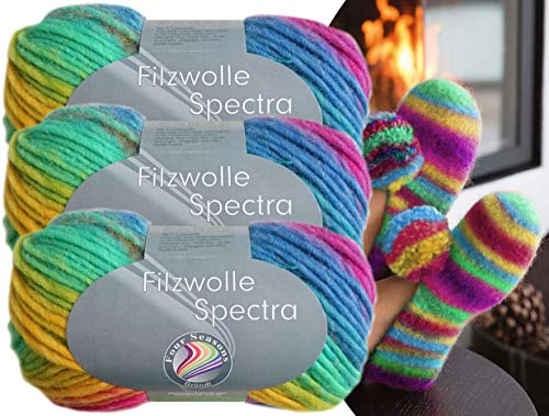 Gründl 3x100 Gramm Filzwolle Spectra aus 100% Schurwolle, (Sparset 05 Regenbogen Mix) inkl. Strickanleitung für Filzhausschuhe + 3 Strasssteine zum aufnähen