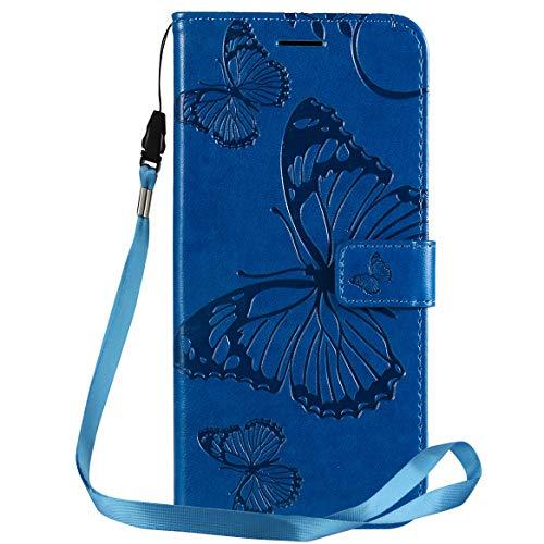 Yiizy Handyhüllen für LG G8X ThinQ Ledertasche, 3D Schmetterling Stil Lederhülle Brieftasche Schutzhülle für LG G8X ThinQ hülle Silikon Cover mit Magnetverschluss Kartenfächer (Blau)