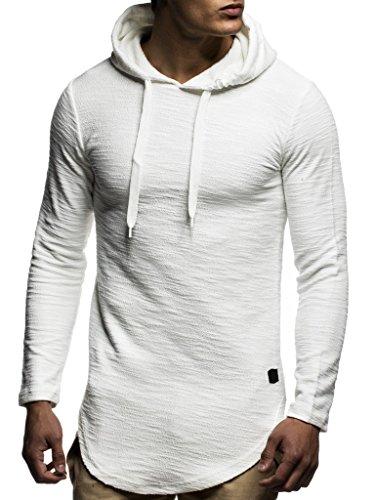 Leif Nelson Herren Kapuzenpullover Slim Fit Baumwolle-Anteil Basic weißer Männer Hoodie Kapuzenshirt Pulli Langarm Jungen schwarzer Pullover-Shirt mit Kapuze LN6300 Ecru XX-Large