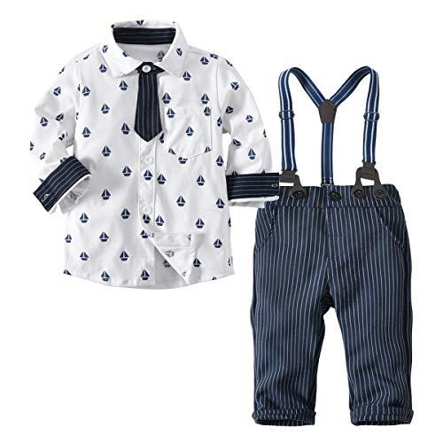 mama stadt Kinderanzug Baby Anzug Lange Ärmel Hemd Fliege + Gestreifte Hosen + Gurt dreiteiligen Anzug