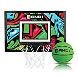 """AND1 Over The Door Mini Hoop: - 18""""x12"""" Easy to Install Portable Basketball Hoop with Steel Rim, Includes 5"""" Mini Basketball, Indoor Game Set for Children and Adults- Green & Pink"""