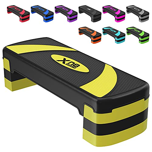 Xn8 Aerobic Stepper Fitness Steps-Adjustable 3 Height Level Exercise 10cm, 15cm, 20cm Anti-Slip Steppers for Cardio-Home-Gym-Workout-Routines-Training (Yellow)