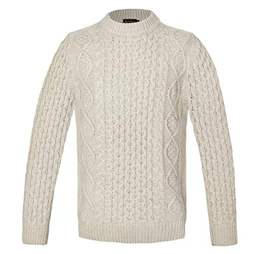 Men's Cable Knit Sweaters Crew Neck in Tan