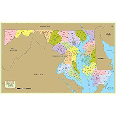 Maryland County with Zip Code Map (48  W x 30  H)