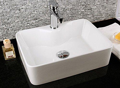 warenplus 1x Waschbecken aus Keramik, Keramikwaschbecken Aufsatz rechteckig weiß 48x37x 13,5 cm