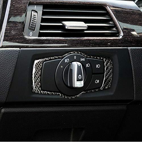 HYSJLS 1 unid faro interruptor marco fibra carbono adecuado para BMW 3 serie E90 E92 E93 2005-2012 interior molduras Accesorios