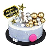 22 Pcs Retro Gold Silver Ball Shaped Cake Topper Insert Star Cupcake Toppers Happy Birthday Cake Toppers Baking Decoration for DIY Cake Wedding Anniversary Valentines Day Birthday Party
