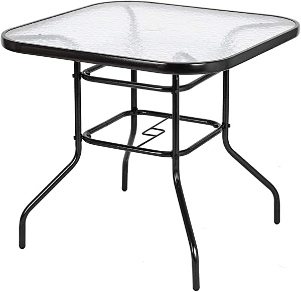 VINGLI Outdoor Dining Table 32 Square Patio Bistro Tempered Glass Table Top With Umbrella Hole Outside Banquet Furniture For Garden Pool Side Deck Lawn