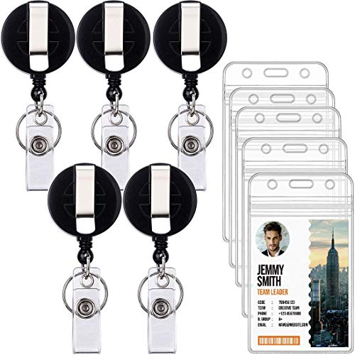 Ktrio 5 Pack ID Name Badge Holder Retractable with Badge Clip Retractable Reel, Clear Plastic Name ID Badge Holder for Lanyard ID Badge Holders Reels Retractable, Nurse Badge Reel Holder, Black