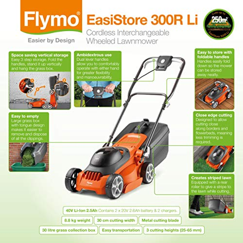 Flymo EasiStore 300R Electric Rotary Lawn Mower – 30 cm Cutting Width, 30 Litre Grass Box, Close Edge Cutting, Rear…