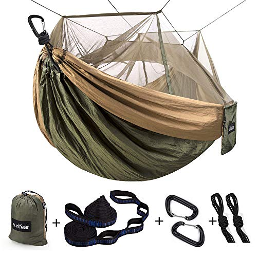 Single & Double Camping Hammock with Mosquito/Bug Net, 10ft Hammock Tree Straps & Carabiners | Easy Assembly | Portable Parachute Nylon Hammock for Camping, Backpacking, Survival, Travel & More
