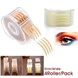 4 Rollers 2400Pcs Eye Lift Strip, BIGGER Rounder Charming Eyes, Invisible One-sided Double Eyelid Tapes Stickers, Instant Eyelid Lift Without Surgery for Single Saggy Hooded Droopy Uneven Mono-eyelids