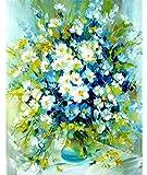Pintura por números para adultos con margaritas blancas y flores para adultos, pintura acrílica por números, kit con pinceles y pigmento acrílico de 40 x 50 cm (sin marco)