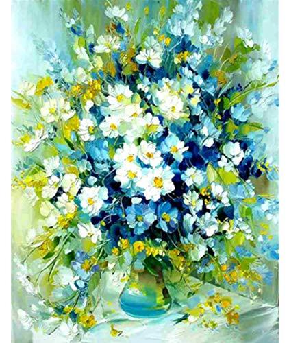 Verf op nummer met geen mooie vaas met bloemen DIY olieverfgeschenken Kits Pre-Printed Canvas Art Home Decoratie 16 * 20 Inch Frameless Gift