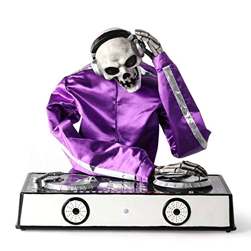Hyde & Eek! Boutique Animated DJ Skeleton Decorative Halloween Prop