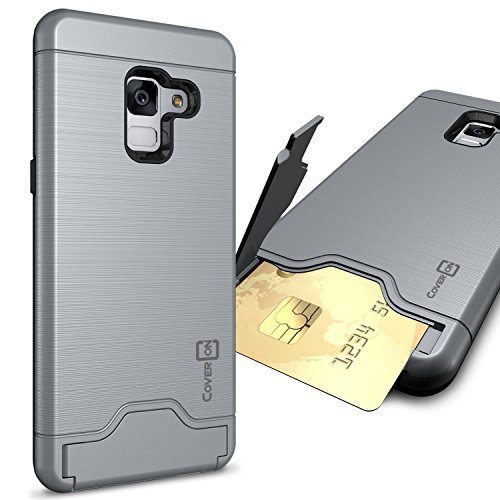 CoverON Credit Card Holder Protective SecureCard Series for Samsung Galaxy A8 Plus 2018 Case, Gunmetal Gray