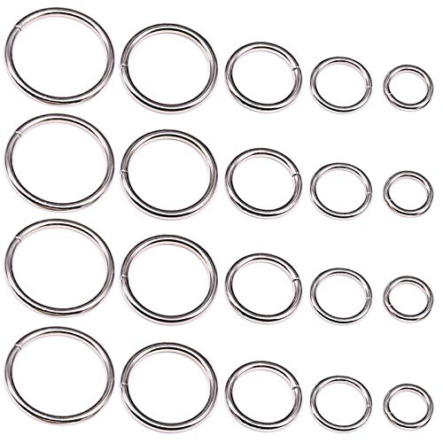 YIXI-SBest 50 Pcs Sliver Assorted Multi-Purpose Metal O Ring for Hardware Bags Ring Hand DIY Accessories - 13mm, 15mm, 20mm, 25mm, 32mm (O Ring)