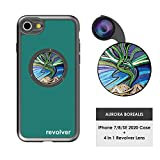 Ztylus Designer Revolver M Series Camera Kit: 4 in 1 Lens with Case for iPhone 7/8 / SE 2020 – Fisheye Lens, Wide Angle Lens, Macro Lens, CPL (Aurora Borealis)