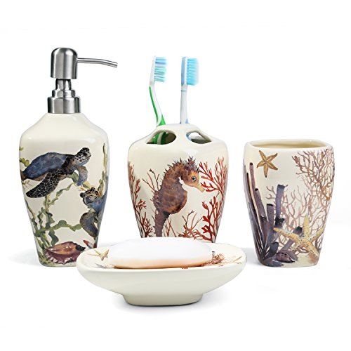 FORLONG FL3014 Sea Turtle Seahorse Sea Coral Starfish Ceramic Bathroom Accessories Set of 4:1 Gargle Cups,1 Toothbrush Holders,1 Soap Dishes,1 Soap Dispenser