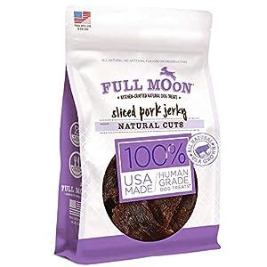 Full Moon Natural Cut Pork Jerky Healthy All Natural Dog Treats Human Grade Grain Free 10 oz