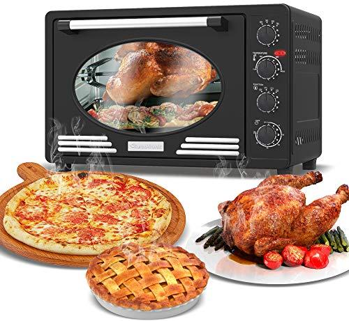 Mini-Backofen 45L mit Drehspieß, Backblech, Timerfunktion, Umluft, Innenbeleuchtung, Retro Design, Pizza-Ofen, 2000 Watt schwarz