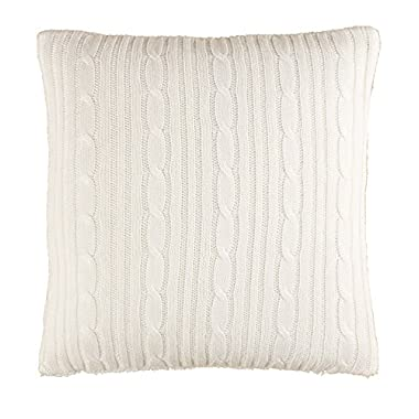 Brielle Cozy Cable Knit Throw Pillow with Sherpa Backing, 18  x 18 , Ivory