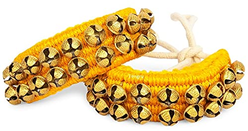 Tengru Kathak Ghungroo 2 Line Yellow Pad Indian Professional Handmade Dancing Big Bells Pair Classical Dance Accessories I Musical Instrument I Anklet for Kids & Adults