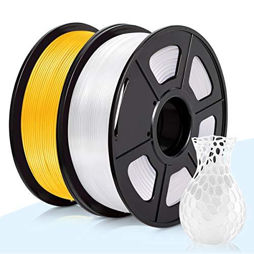 PLA Filamento Blanco & Oro,3D Warhorse Pla Filamento de Impresion 3D,3D Printer Filament 1.75mm,Dimensional Accuracy +/- 0.02 mm,Polylactic Acid Material,1.75mm PLA,2KG(Spool)