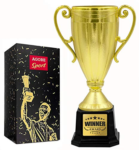 Gold Cup Trophy Award for Sport Tournaments, Competitions, Parties for Kids and Adults - 10 Inch Appreciation Reward Gift for Students, Employees or Friends