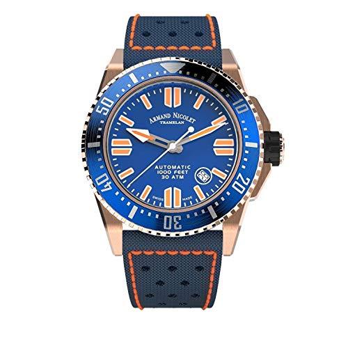 Orologio da Uomo Armand Nicolet Automatico JSS Blu da Sub Impermeabile 300M con Cassa Oro Rosa A480HBS-BU-P0668BO8
