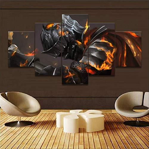 MZCYL Canvas Pictures Modern Canvas Printed Armor Dark Souls III Knight Game Warrior Poster Home Decor Wall Art Modular para El Dormitorio 5 Piezas Sin Marco